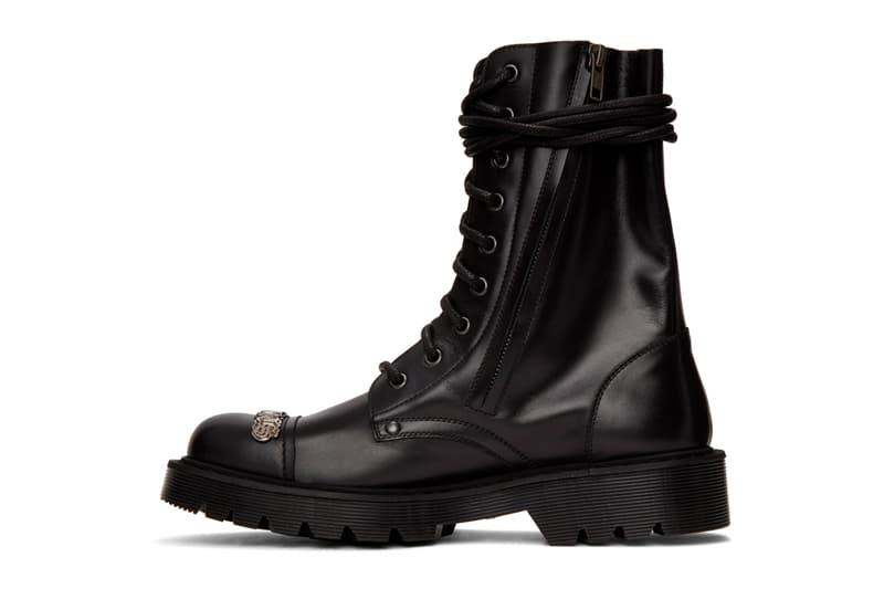 Vetements Gothic Logo Combat Boots Release Black Info Buy Price SSENSE