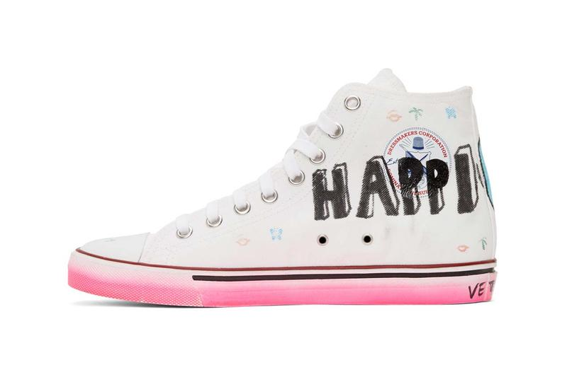 vetements white hardcore happiness high top sneakers