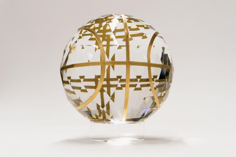 Victor Solomon 'MoonShotVS.007' Crystal Basketball Sculpture Gold Enamel