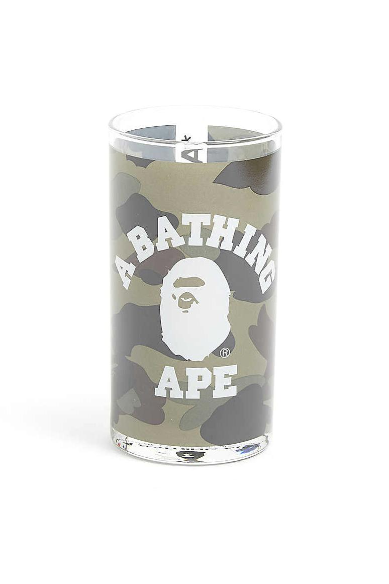 A BATHING APE 1st Camo College Print Glass Green Yellow Colorway BAPE Glasses Tumblers Homeware Design Kitchen Drinks Selfridges APE Logo