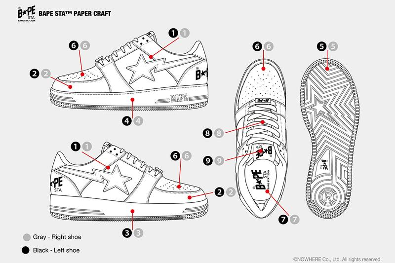 A BATHING APE BAPESTA Craft Kit Download Stay at Home Productivity Arts Design Footwear Sneaker Coloring Colorways Creativity Lockdown Self Isolation Quarantine Hobbies Craft