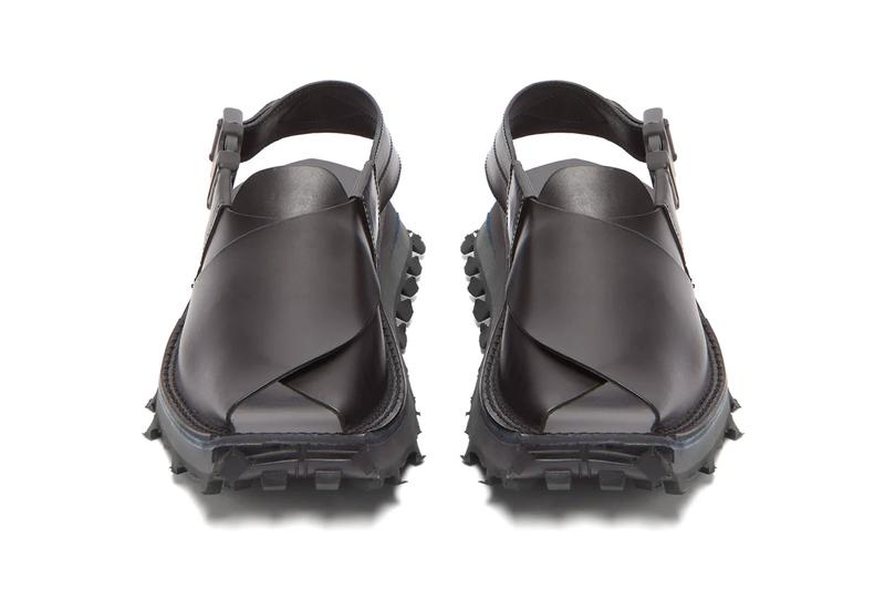 Acne Studios Square-Toe Distressed Leather Sandals Italian Leather rubber summer footwear moc Swedish