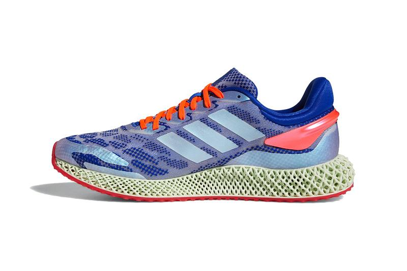 adidas 4d run 1.0 glow blue white solar red primeknit 3d-printed digital light synthesis performance details release info comfort cushioning