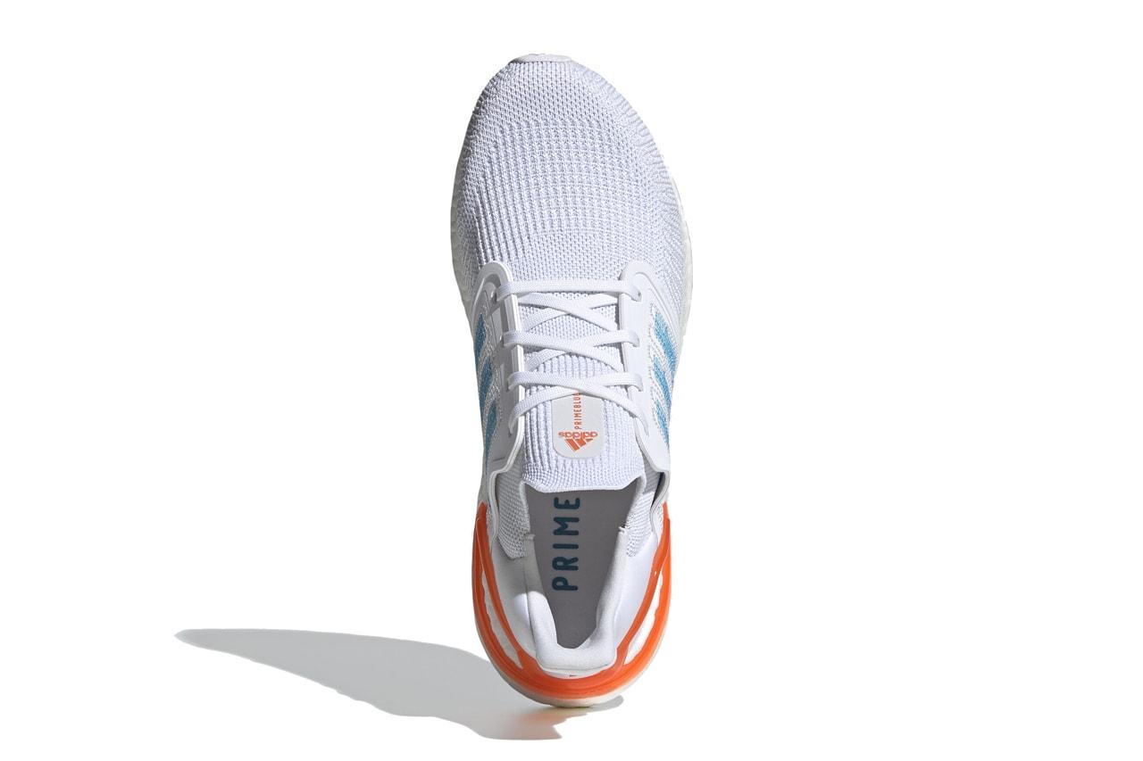 adidas running primeblue ultraboost 20 EG0768 parley for the oceans cloud white sharp blue true orange release date info photos price