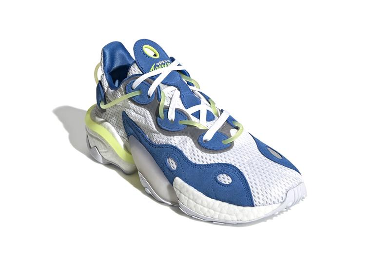 """adidas Torsion X """"Blue/Cloud White/Solar Yellow"""" Release Information Closer Look First Three Stripes Trefoil '90s Ozweego Styling Sneaker Drops Footwear BOOST Technology"""