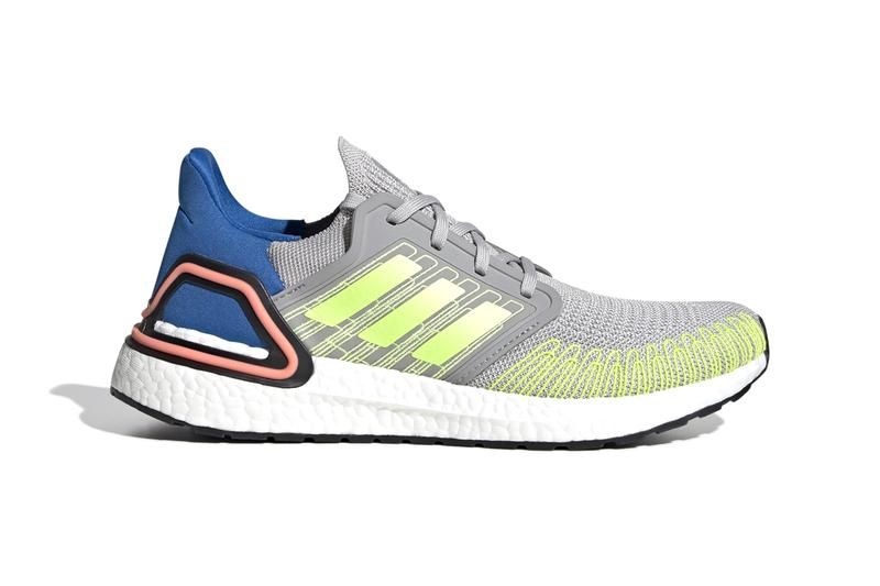 """adidas UltraBOOST 20 """"Grey Two/Signal Green/Glory Blue"""" Release Information Closer Look Three Stripes Running Shoes Tech BOOST FX0899 Continental Rubber Outsole Fiber Placement Primeknit Fabric"""