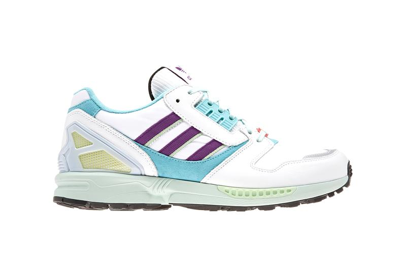 "adidas ZX 8000 ""Vapour Pink"" & ""White/Turquoise"" Release Information Drop Date Three Stripes Torsion Tech Spring Summer Footwear Sneakers Classic OG Colorways Bold Bright VAPPNK/CLAQUA/EASYEL FTWWHT/PURPLE/LTAQUA"