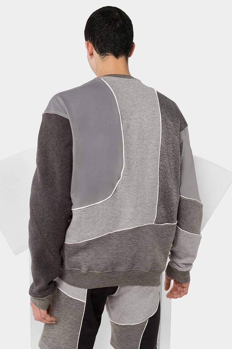 Ahluwalia studio Patchwork Sweatshirt track shorts recycled recycle cotton grey sustainable conscious fashion