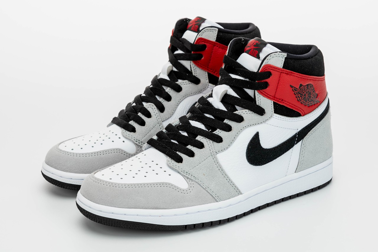 jordan brand air 1 retro high og light smoke grey red black white 555088 126 release date info photos price