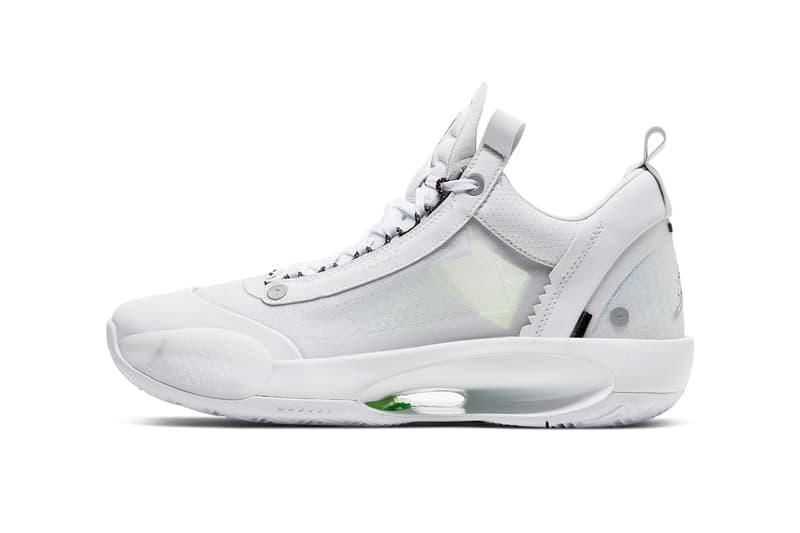 air jordan 34 low white pure platinum electric green metallic silver CU3475 100 release date info photos price