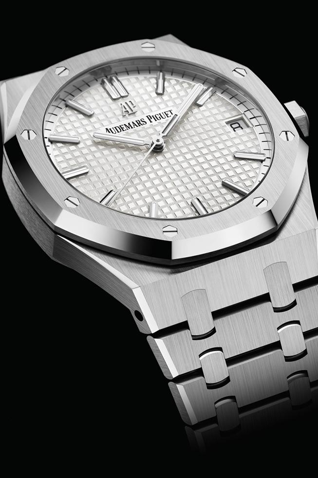 Audemars Piguet 41mm Royal Oak Silver/White AP Audemars Piguet watches wrist watches horology swiss made screw down crown movement caliber