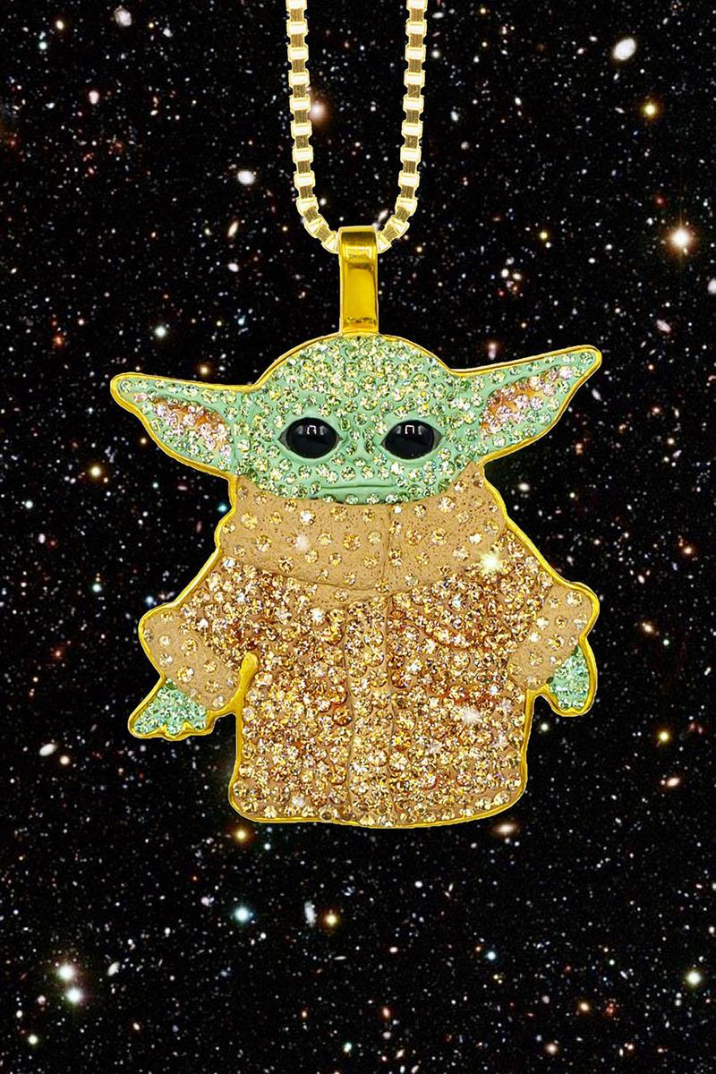 NTWRK x The Dan Life Baby Yoda Pendant Star Wars Day gold swarovski crystal plated necklace jewelry may fourth 4 release date handmade