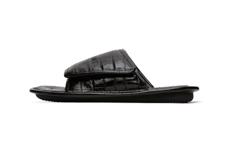 Balenciaga Black Croc Slides menswear streetwear footwear slides spring summer 2020 collection leather crocodile animal pattern luxury velcro branding logo