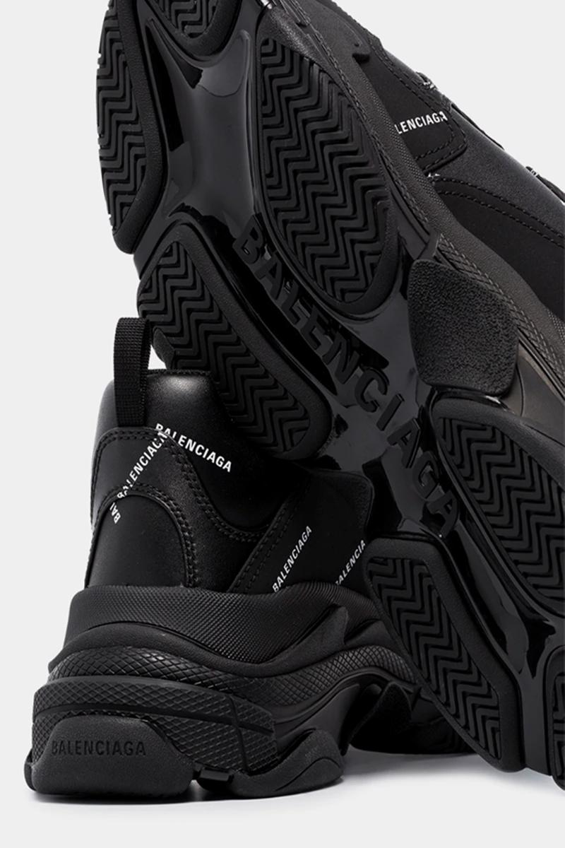 Balenciaga Triple S Logo Black menswear streetwear spring summer 2020 collection shoes footwear sneakers kicks trainers runners leather suede chunky logomania