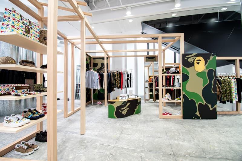 BAPE Store COMME des GARÇONS Osaka Opening APE HEAD BAPE CAMO Wooden Shelves Frames Apparel Product Line Coach Sneakers Bags