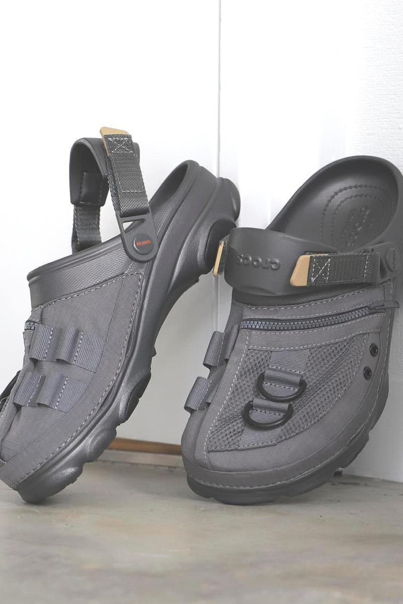 BEAMS x Crocs Fishing Vest, COBRA Buckle Shoe Collab ss20 spring summer 2020 japan slides sandals slip on black olive green army release date info buy april 11rollercoaster -33-0725-332 11-33-0724-332 beige gray black olive