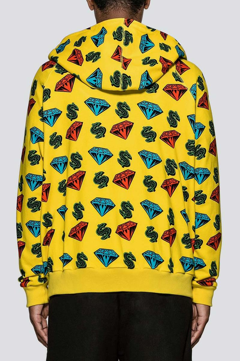 Billionaire Boys Club Diamond and Dollar full Zip Hoodie yellow turquoise allover print