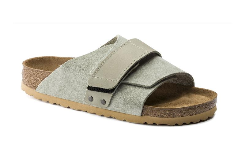 Birkenstock Kyoto Slides Taupe ultra blue navy mocha desert sand beige sage footwear slippers menswear streetwear spring summer 2020 collection nubuck leather sandals