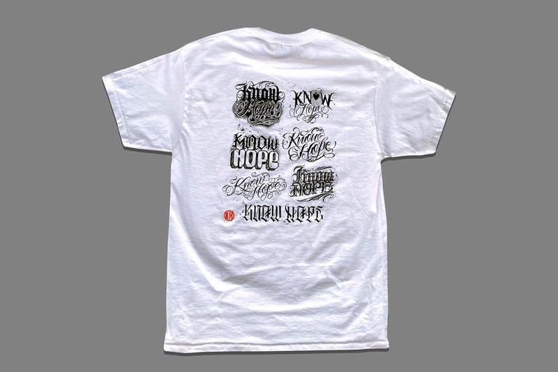 "BJ Betts ""KNOW HOPE"" Charity T-Shirt 14 Tattoo Artists  Mr Cartoon Grime Christina Ramos Flaks White Black Script Lettering COVID-19"