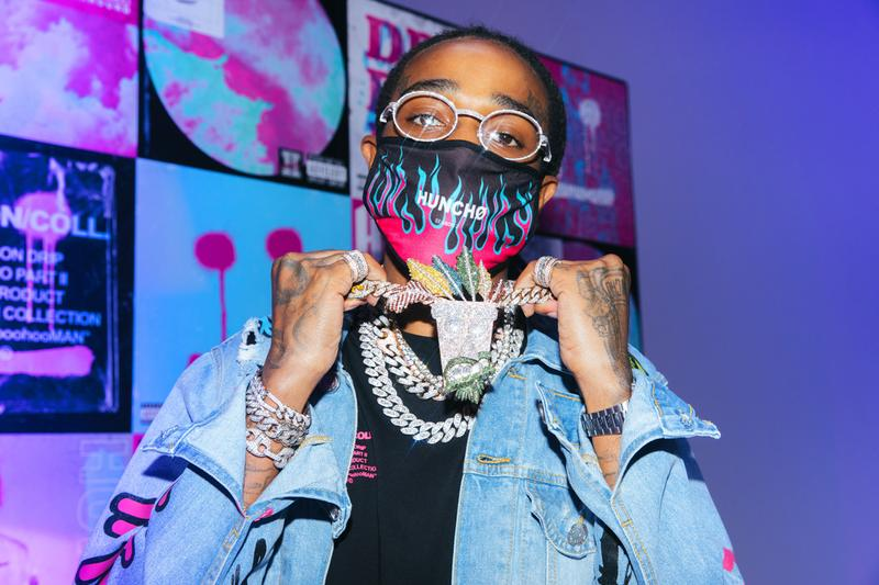 MIGOS Boohoo mixing matching sets bandana prints eccentric tie-dye acid washes mesh utility vests and fanny packs, print-heavy slides and socks to distressed denim vibrant sweatsuits chained sunglasses matching face masks
