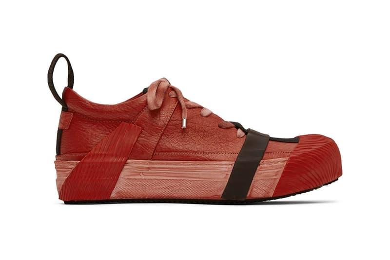 Boris Bidjan Saberi Red Bamba2 Sneakers grey and black colorway spring 2020 kangaroo leather smudging