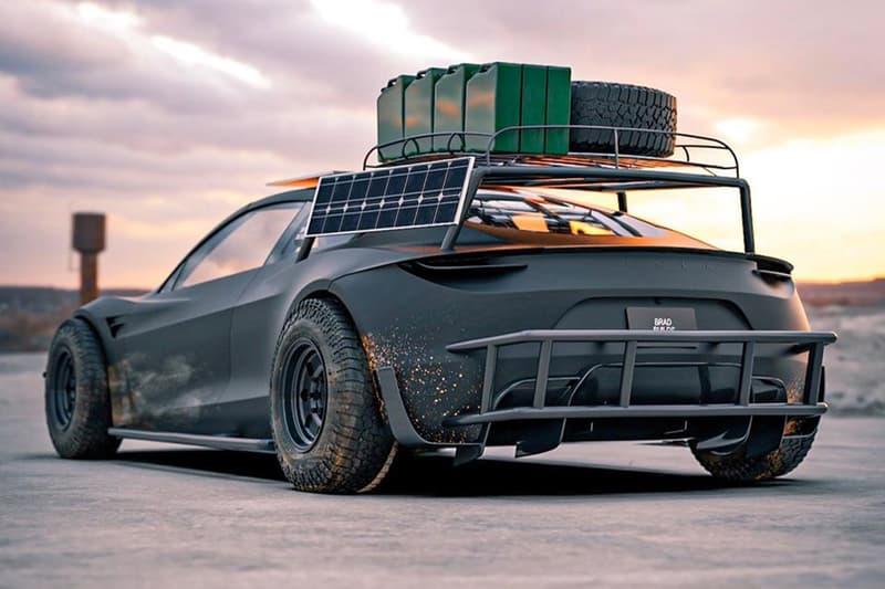 bradbuilds car graphic designer concept 3d rendering tesla roadster safari 911 inspired mad max off road