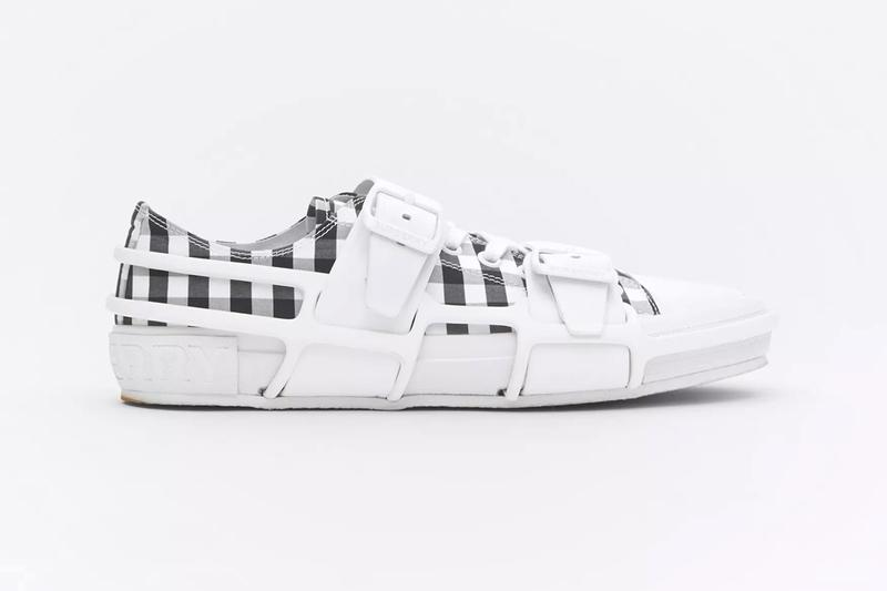 Burberry Gingham Cotton Leather Webb Sneakers two tone black white monochrome menswear streetwear luxury aston webb victorian architect spring summer 2020 collection footwear