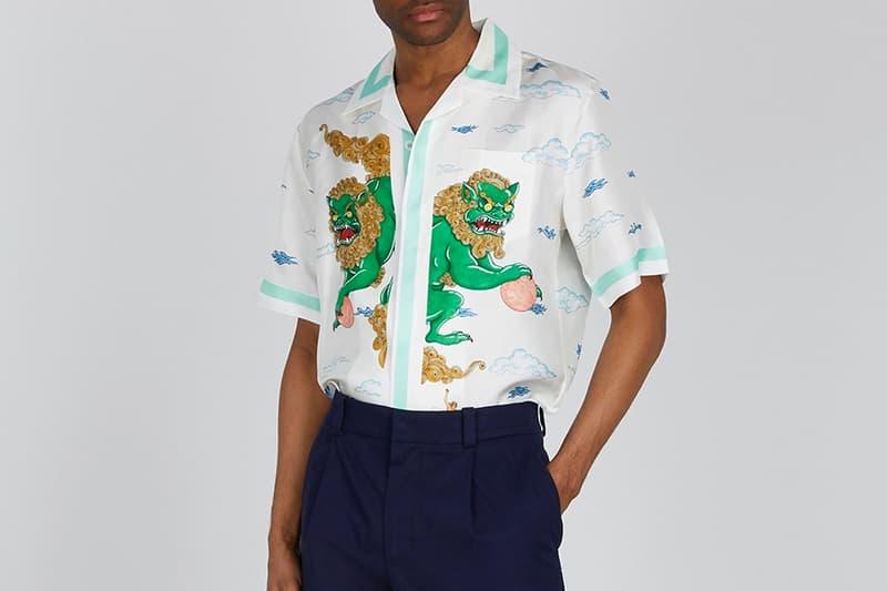 Casablanca Souvenir de L'Archipel Silk Twill Shirt Harvey Nichols Shirts Parisian Silk Premium Resort Foo Dogs Prints Pastel Colors