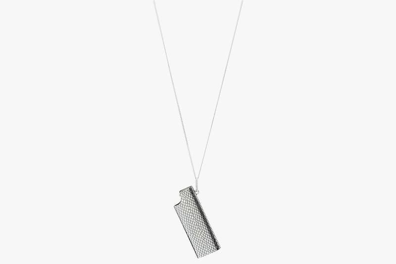 "CELINE Men's Python Lighter Case Necklace Hedi Slimane CELD6429SILZZZZZ00 Italy Brass Accessories Jewelry ""Vintage Silver"" Colorway Snake Engraved Print Pattern"