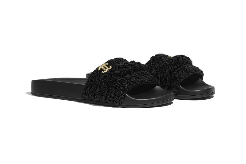 Chanel Pearl and Lambskin Mule Slides French Parisian open-toe sandals double C knitting braided beads summer slides luxury