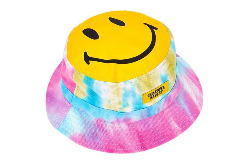 chinatown market smiley collab canvas bucket hats tie dye black blue patch appliqué drawstring brim