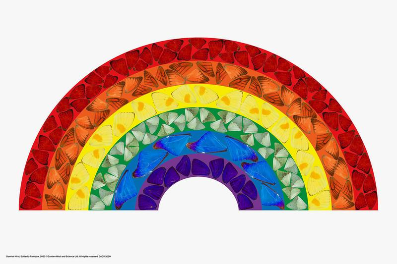Damien Hirst 'Butterfly Rainbow' NHS Painting COVID-19 Coronavirus Art British Artist Butterfly Wing Motif Donations Limited Edition Charitable Efforts Fundraising