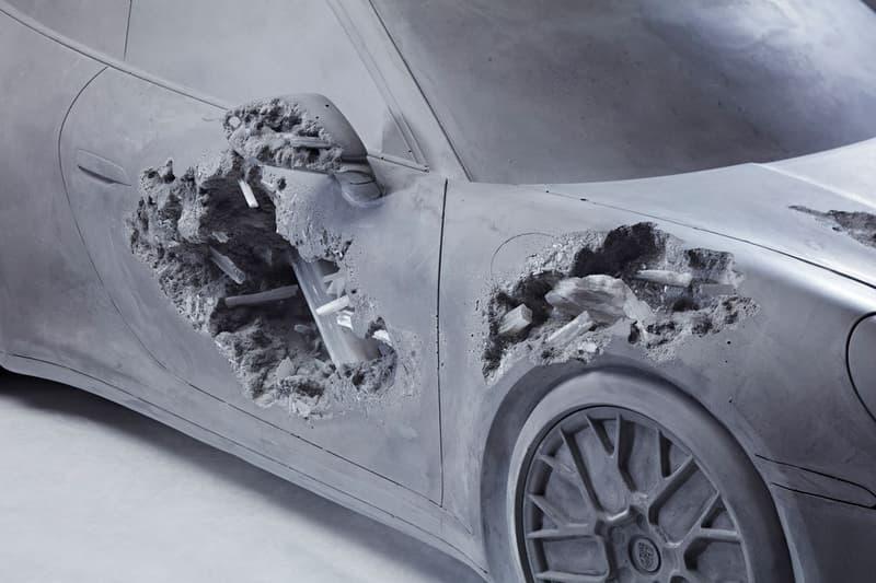 Daniel Arsham Eroded Porsche Phillips Hong Kong Auction K11 MUSEA 'Ash & Pyrite Eroded Porsche' Volcanic Ash Gray Opera Theater Exclusive Look