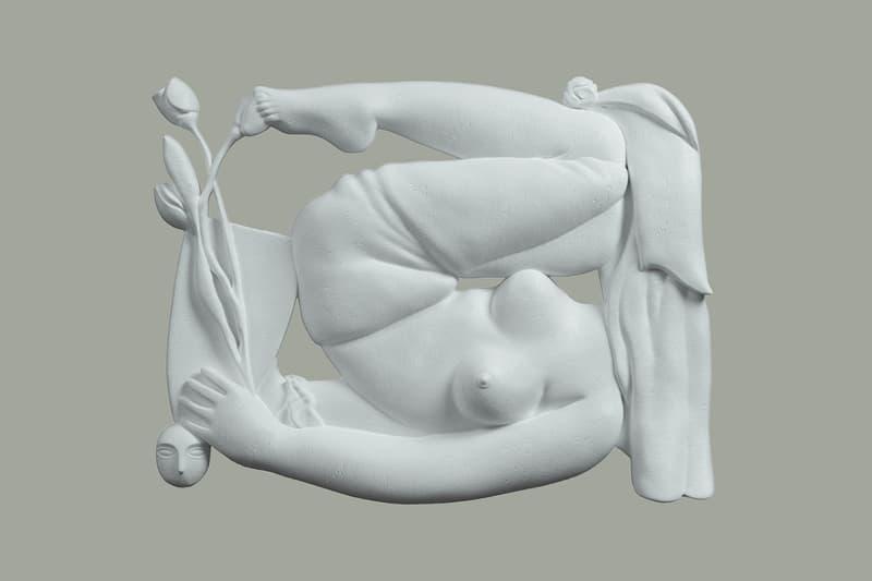 Diane Dal-Pra and Services Généraux's 3D Visuals Paintings CGI Sculptural Work Woman Tulips Mask Brancusi