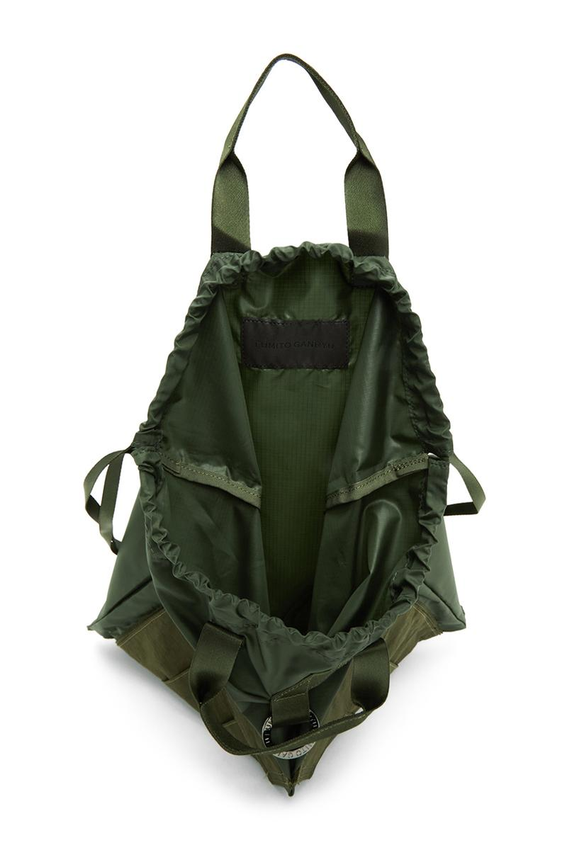 Fumito Ganryu Two Way Military Tote Bags khaki olive drawstrings backpack accessories gym bag menswear streetwear spring summer 2020 collection ripstop logo branding japanese japan carrying solutions
