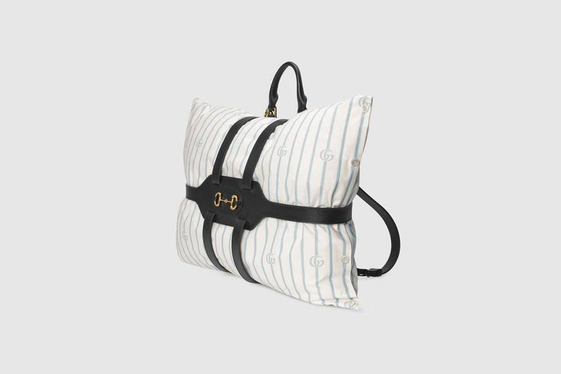 Gucci Spring/Summer 2020 Backpack Pillow Holder 1955 Horsebit Line Pillow Double G Blue White Black Leather Straps Gold Hardware