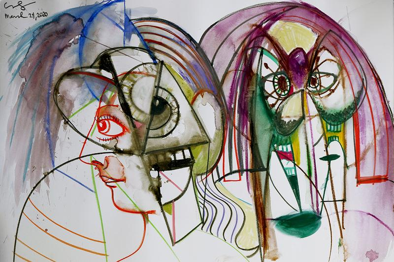 hauser and wirth gallery art george condo online drawings exhibition distanced figures social isolation sales world health organization distancing coronavirus covid-19