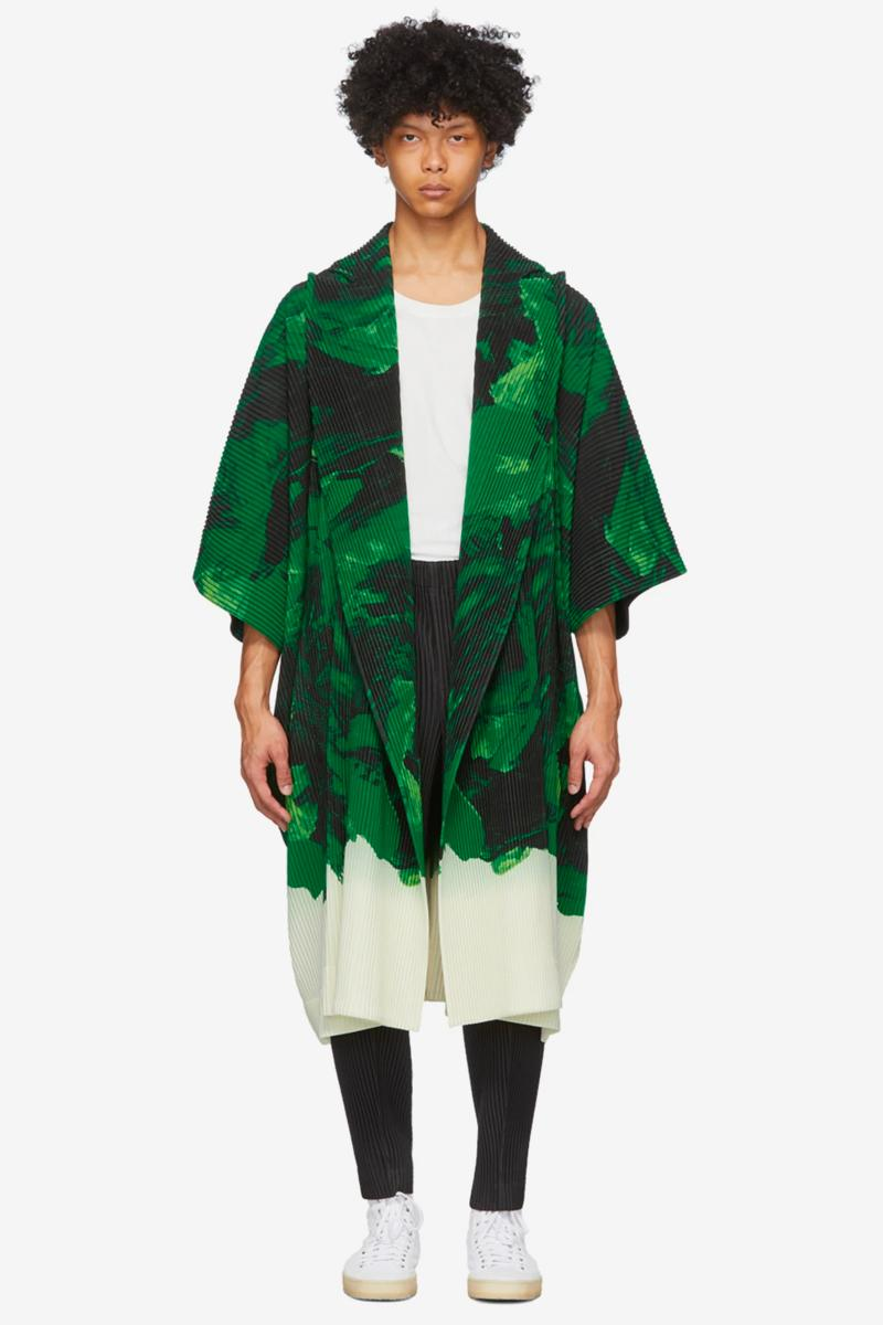 Homme Plisse Issey Miyake Action Painting Coat black green yellow black blue menswear streetwear spring summer 2020 collection japanese designer jacket pleated trench outerwear