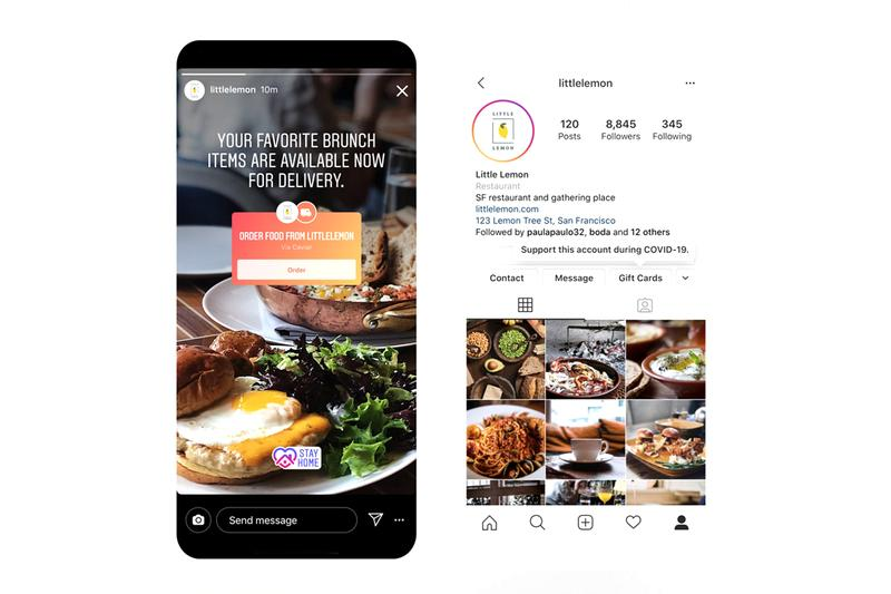 Instagram Introduces Food Delivery Gift Cards inside app update support small businesses coronavirus covid 19 pandemic stay at home