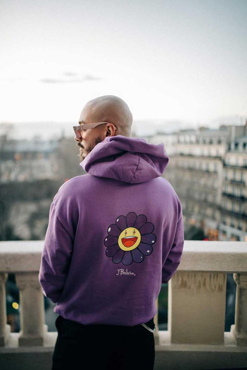 "Takashi Murakami & J Balvin Capsule Collection T-shirts Hoodies Purple Black White Smiling Flower Motif Lightning Bolts 'Colores' Album ""Morado"" ""Blanco"""