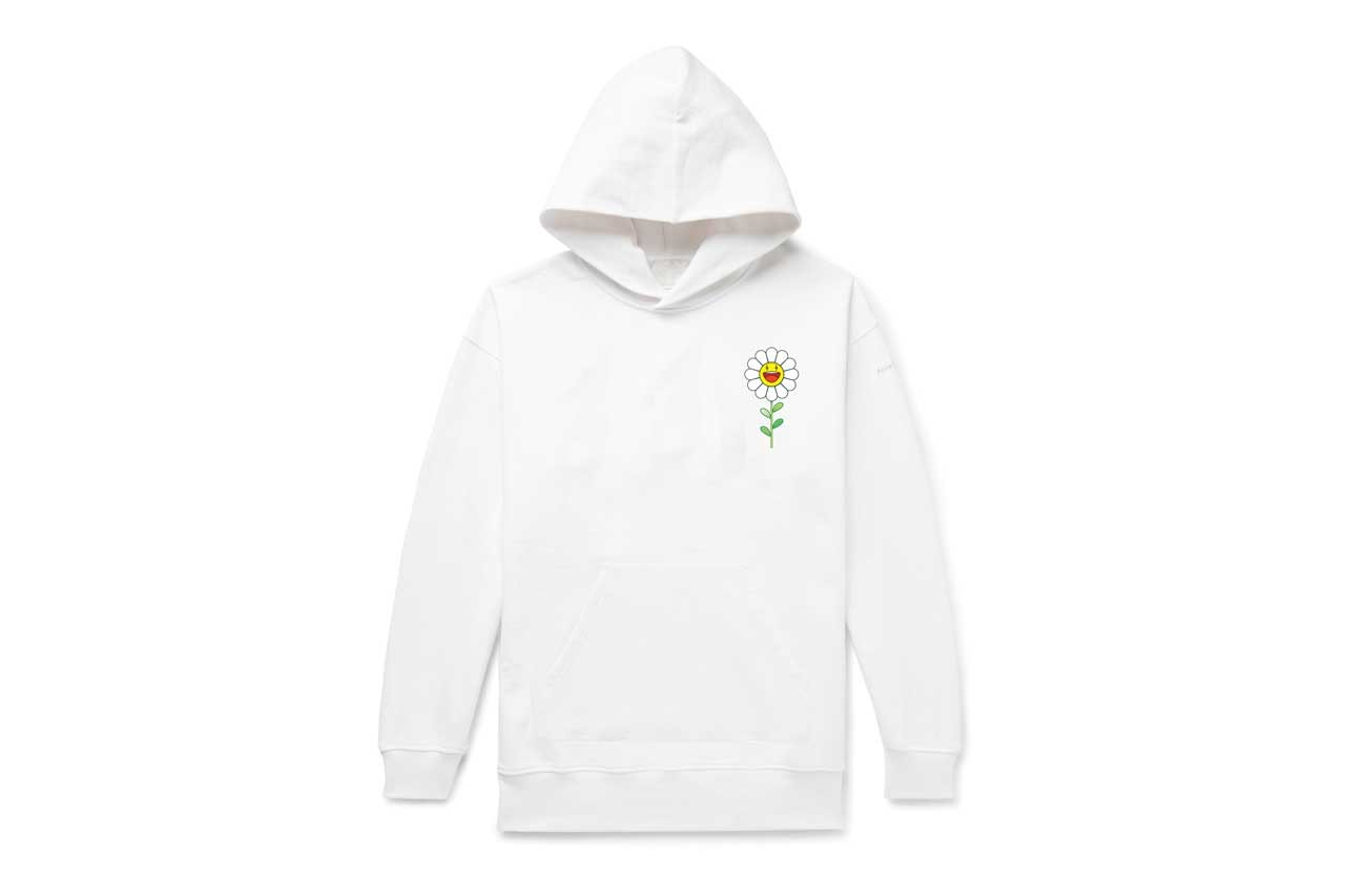 Takashi Murakami & J Balvin Capsule Collection T-shirts Hoodies Purple Black White Smiling Flower Motif Lightning Bolts 'Colores' Album