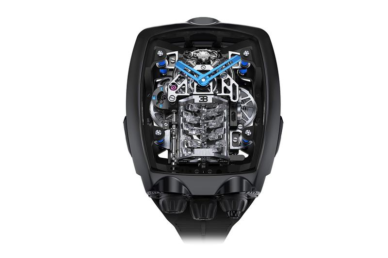 Bugatti x Jacob & Co. Chiron Tourbillon Watch News hypercars w16 engine art movement power reserve New York Supercar Rich Luxury
