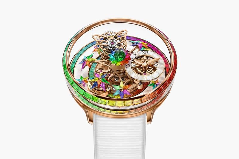 Jacob & Co. Rainbow Astronomia Fleurs de Jardin Release Info watch timepiece luxury multicolor 18k rose gold case sapphire tsavorite