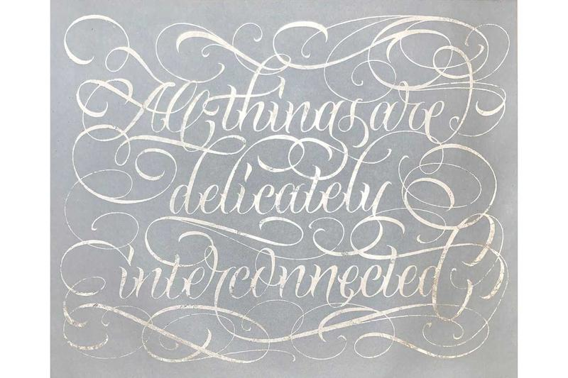 Jenny Holzer Earth Day Special Edition Print Hauser & Wirth 'ALL THINGS ARE DELICATELY INTERCONNECTED' Truism Gray White Script