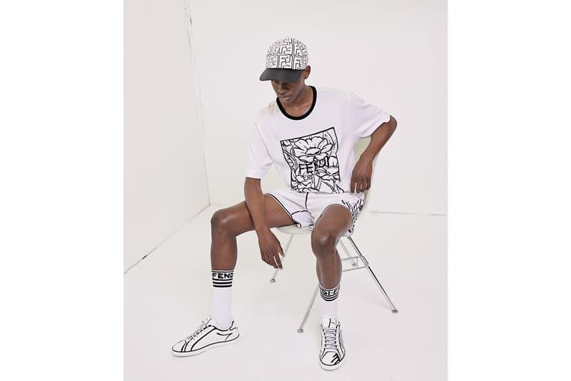 Fendi & Joshua Vides Collection Skirts Jackets Bags White Black Bucket Hats Caps Socks T-shirts Shorts Sneakers Blazers Stripes Flowers Marker