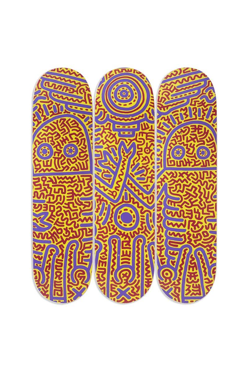 keith haring untitled 1984 skateboard skate deck triptych art artist graffiti ss20 moma design store release skateboards