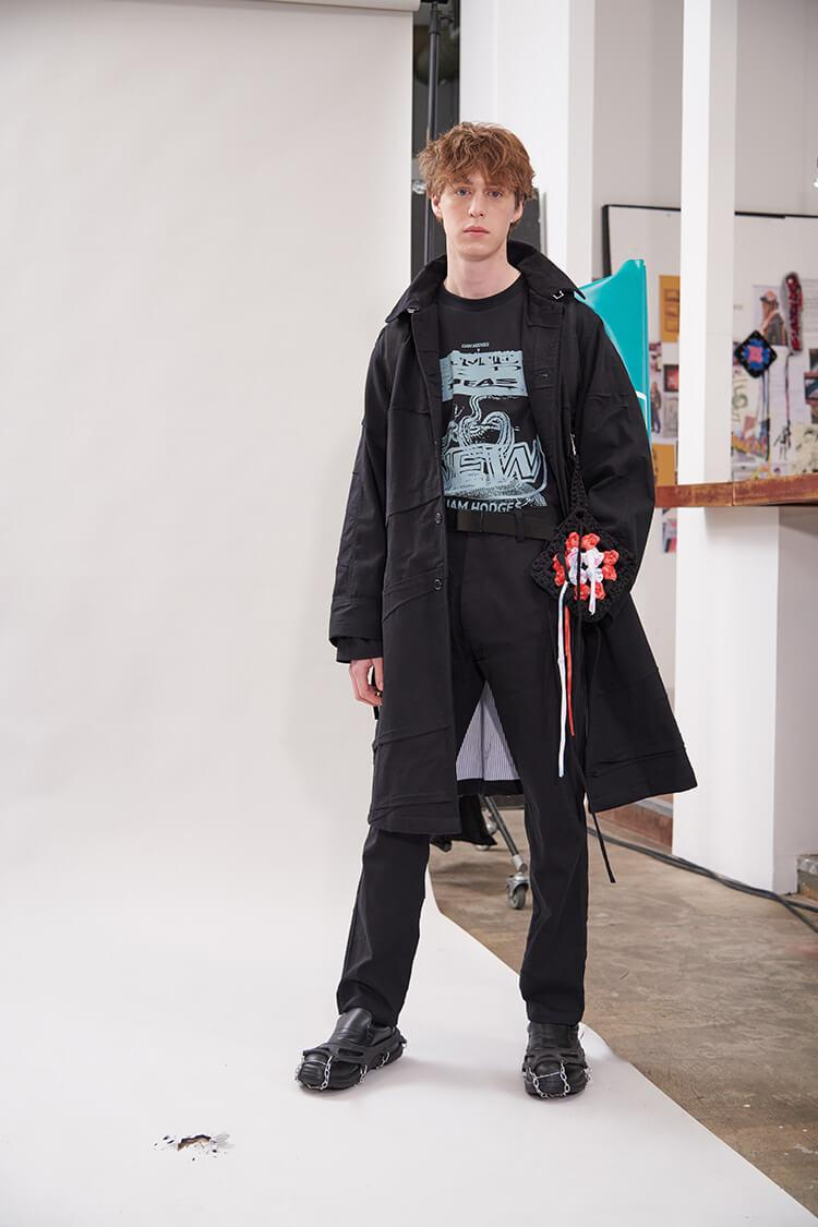 Liam Hodges FW20 Lookbook collection vintage repurporsing t-shirts graphic crochet details london menswear buy cop purchase nukak collaboration