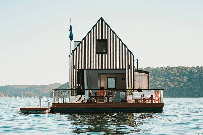 airbnb lilypad floating luxury villa Australian designer Chuck Anderson solar-power Palm Beach Sydney al fresco terrace waterfront