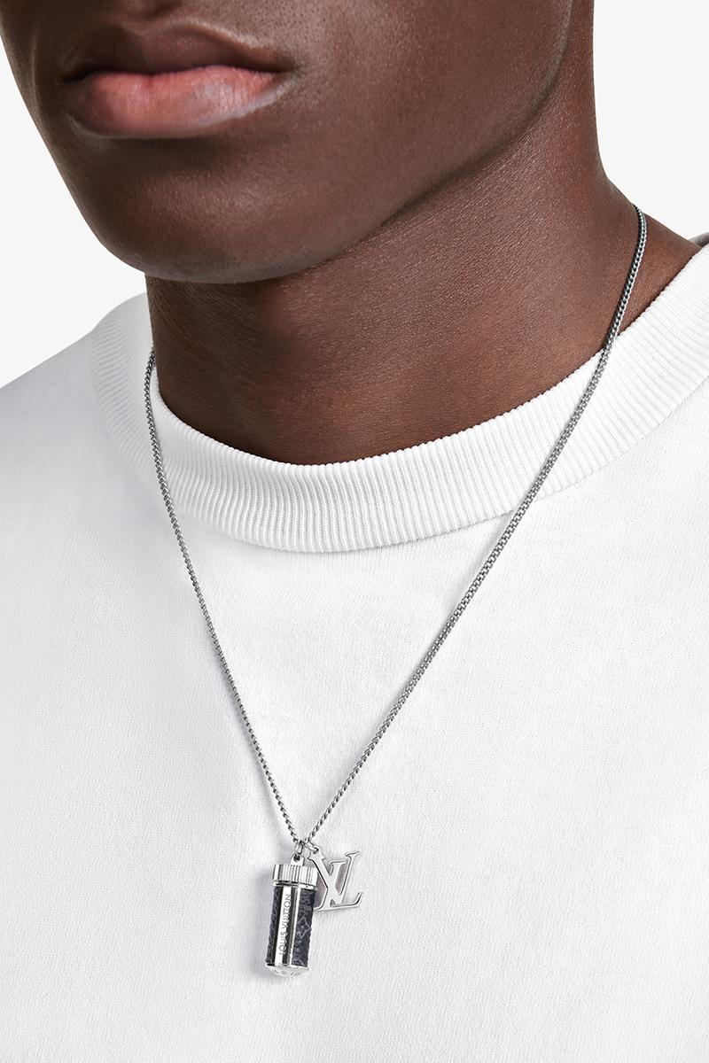 louis vuitton virgil abloh menswear mens jewelry chain necklace ring silver monogram multicolor iridescent scarf hat belt bag card holder release information buy cop purchase