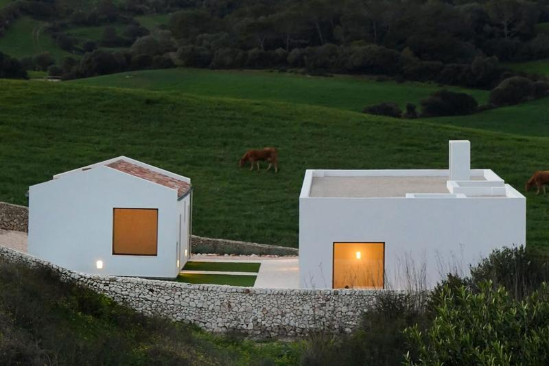 Marina Senabre House in Menorca White Building Minimalist Pools Mediterranean Island Gravel Concrete Countryside